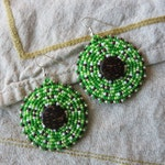 Green & Pastel Lime Round Seed Bead Earrings with Coconut Center, Native American Made