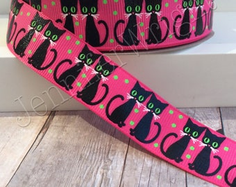 Halloween ribbon, black cat ribbon, grosgrain ribbon, US Designer ribbon, holiday ribbon