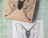 Large Luna Moth Wood Mounted Rubber Stamp