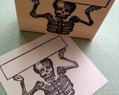 Skeleton Holding Sign Wood Mounted Rubber Stamp 6382