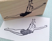 Swan Dive Mounted Rubber Stamp 5148