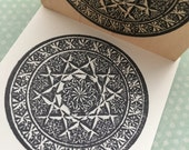 Cut Glass Circle Design Wood Mounted Rubber Stamp 5771