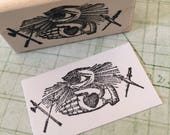 All Seeing Eye with Swords and Heart Hand Rubber Stamp