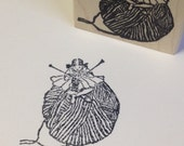 Little Knitting Girl on a Big Ball of Yarn Wood Mounted Rubber Stamp 6465