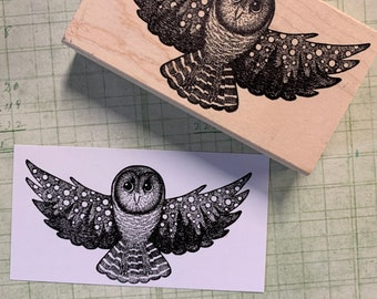 2 miniature owl rubber stamps P24