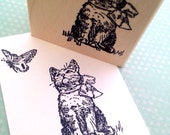 Kitten and Butterfly Wood Mounted Rubber Stamp 1735