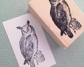Owl Looking Left Rubber Stamp 1632