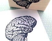 Brain Side View Wood Mounted Rubber Stamp 1284