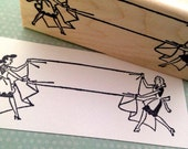 Retro Ladies in Aprons Folding Laundry Wood Mounted Rubber Stamp 5079