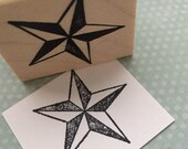 Nautical Star Wood Mounted Rubber Stamp 3204