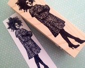 Lady in Leopard Print Coat Mounted Rubber Stamp 4772