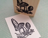 Group of Mushrooms Wood Mounted Rubber Stamp 5291 Q