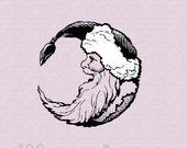 Santa Moon Wood Mounted Rubber Stamp 3411