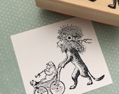 Lion and a Lamb Very cute Wood Mounted Rubber Stamp 837