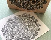 Verbena Flower Head Rubber Stamp 5473