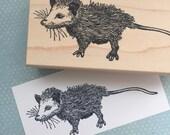 Cute Opossum Rubber Stamp 6628