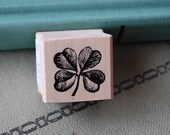Four Leaf Clover Wood Mounted Rubber Stamp 4911 Lucky Clover Stamp Good Luck Stamp Shamrock Stamp Plant Stamp St. Patrick 39 s Day Stamp