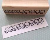 Row of Skulls Rubber Stamp 4547