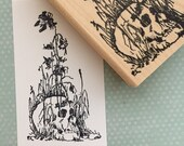 Skull In Weeds Rubber Stamp 6345