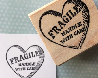 Fragile Heart Handle With Care Rubber Stamp 6358