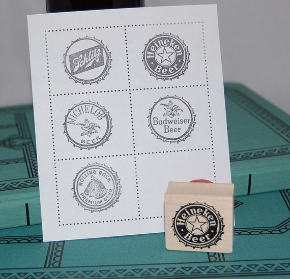 One Beer Cap Wood Mounted Rubber Stamp
