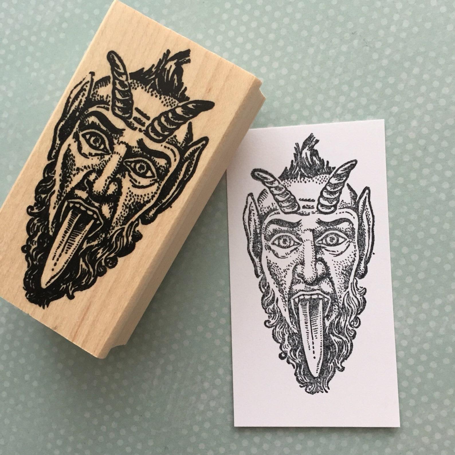 KRampus wood mounted Rubber Stamp