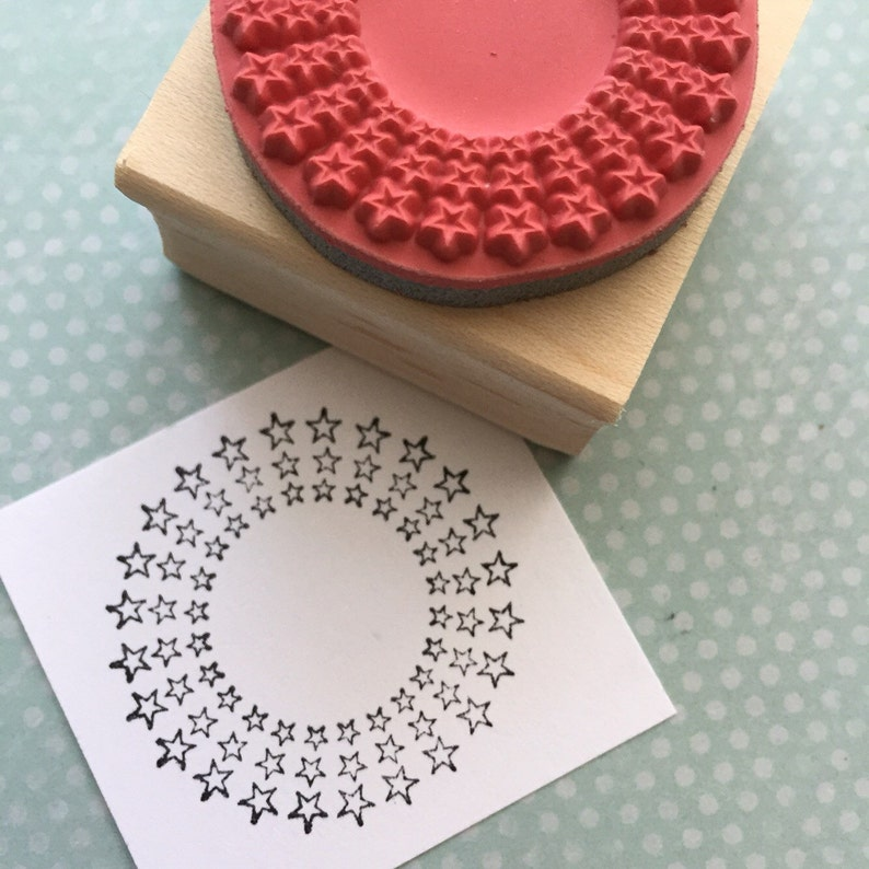 Circle of Stars  Wood Mounted Rubber Stamp 2311