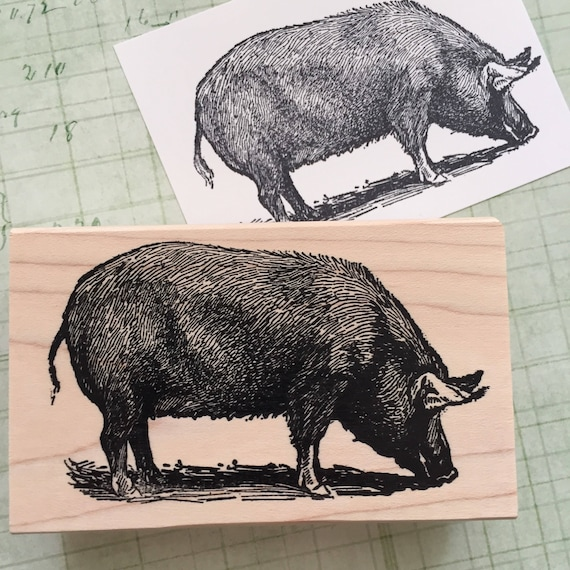 big pig rubber stamp 4227 etsy