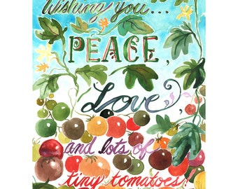 Garden art print, Tiny Tomatoes, watercolour art print, food art, kitchen art, hand lettering, fine art print, giclee print, plant art, gift