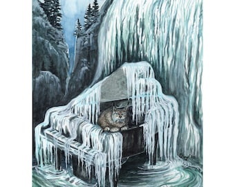 Giclee print, Out of Tune, piano art, watercolour print, mountains art, winter art, surrealism, waterfall, moody, lynx, wildlife, music art