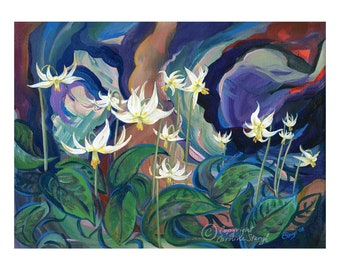 Giclee print, Fawn Lilies, acrylic painting, botanicals, forest, flowers painting, forest art, wildflower art, spring painting, plants art
