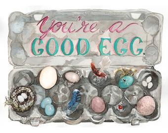 Watercolour print, Good Egg, kitchen decor, egg art, nest art, farm eggs, watercolour food art, foodie art, eggs painting, chicken eggs art