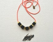 The Skyscraper Necklace- Jet Black Lava Rock and Hand Cut Raw Brass Squares