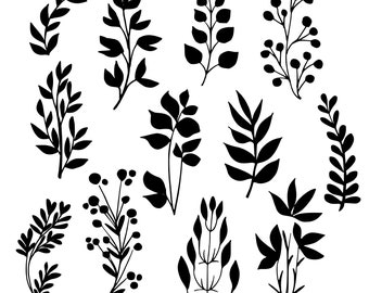 Black Tree Branches And Leaves. Branch Clip Art. Hand Drawn Botanical Design Elements. Instant Download Printable Image. Vector Illustration