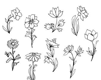Hand Drawn Flowers. Black And White Botanical Drawing. Floral Clip Art. Instant Download Printable Image. Vector Illustration.