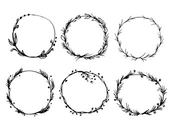 Hand Drawn Round Floral Frames. Decorative Wreath Clip Art. Instant Download Printable Image. Black And White Vector Illustration.