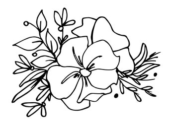 Hand Drawn Blooms, Leaves and Berries. Instant Download Printable Floral Image. Black And White Flowers. Vector Illustration. Floral Card.