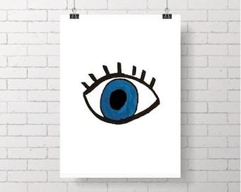 Evil Eye Printable Art - Graphic Digital Wall Art - Greek Mati