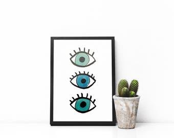 Evil Eye Graphic Printable Wall Art - Greek Mati