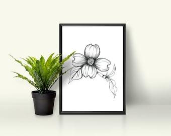 Printable Wall Art PDF - Dogwood Flower - North Carolina State Flower Hand Drawn