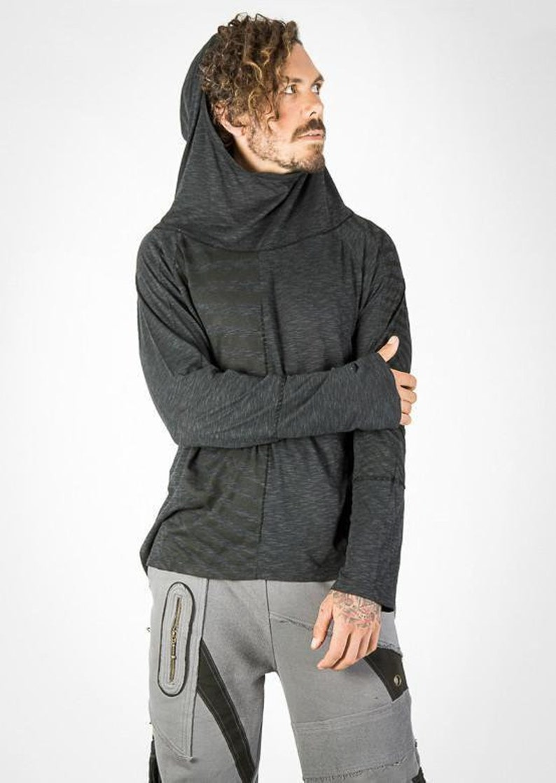 Mirage Top,Hooded long sleeve,Men long sleeve top,Unisex shirt,T shirt with hood,Casual shirt,Festival top,Burning man top,Doof top,Hippie