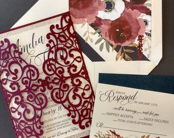 Burgundy Laser Cut Wedding Invitation Package Marsala Blush Etsy