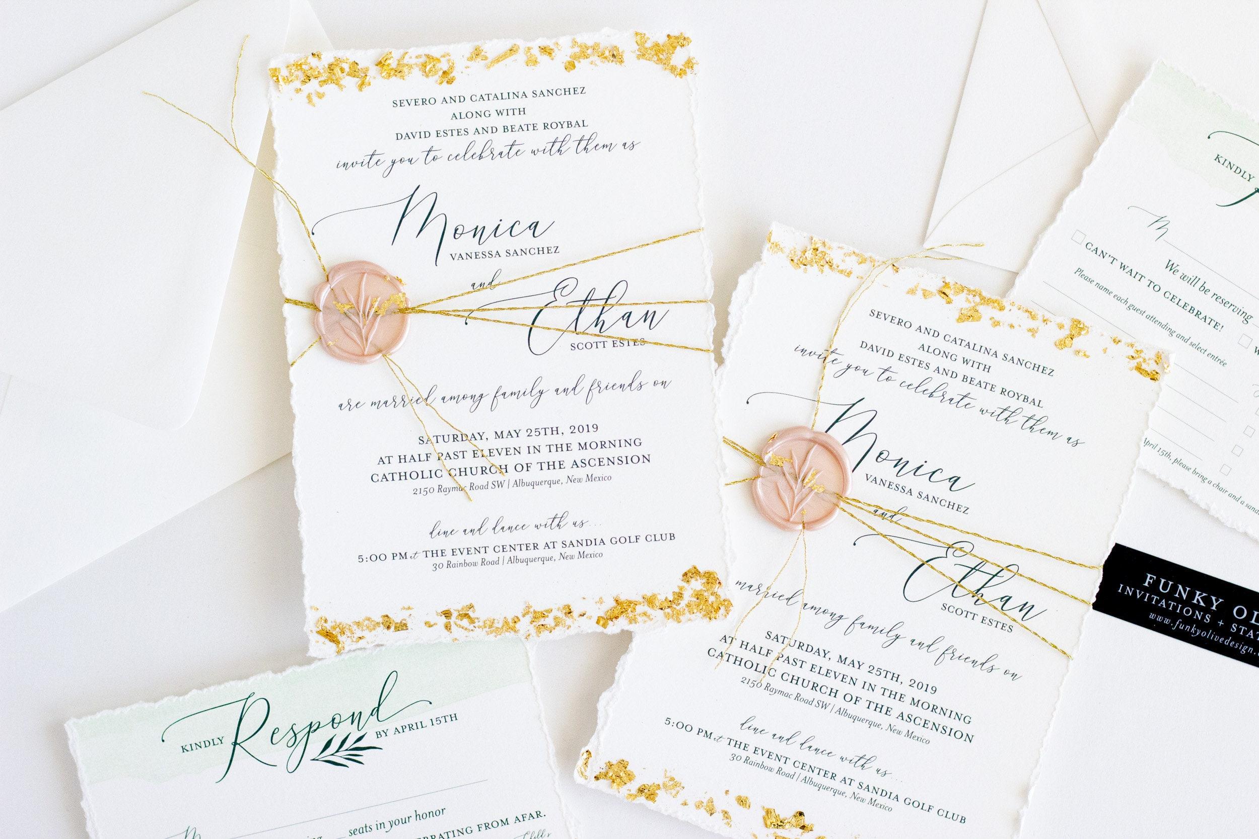 Gold Foil Flake Wedding Invitation Hand Torn Deckled Edge Wax   Etsy