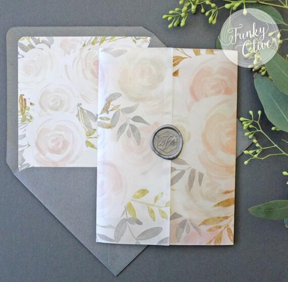 Floral Watercolor Wedding Invitation Vellum Wrap Wax Seal Etsy