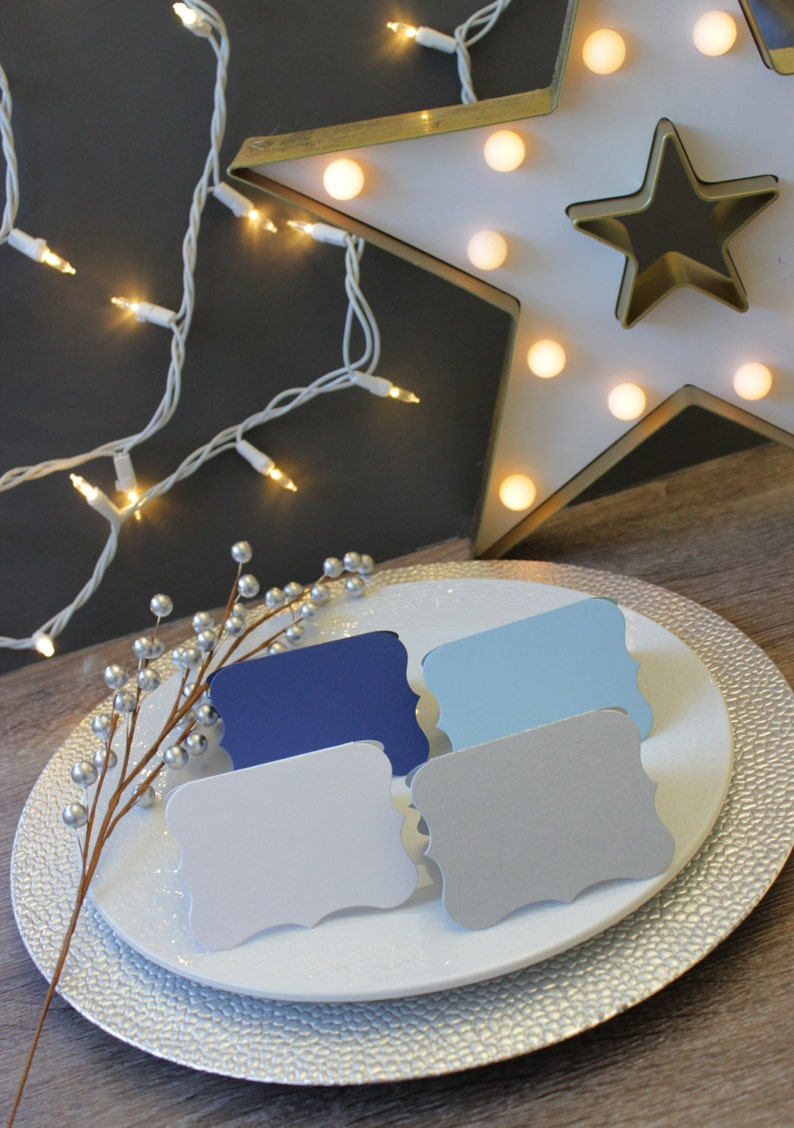 Hanukkah Placecards Winter Party Dinner Table Seating Card Navy Silver Blue White BLANK DIE CUT Folded Escort Card Tablescape Centerpiece