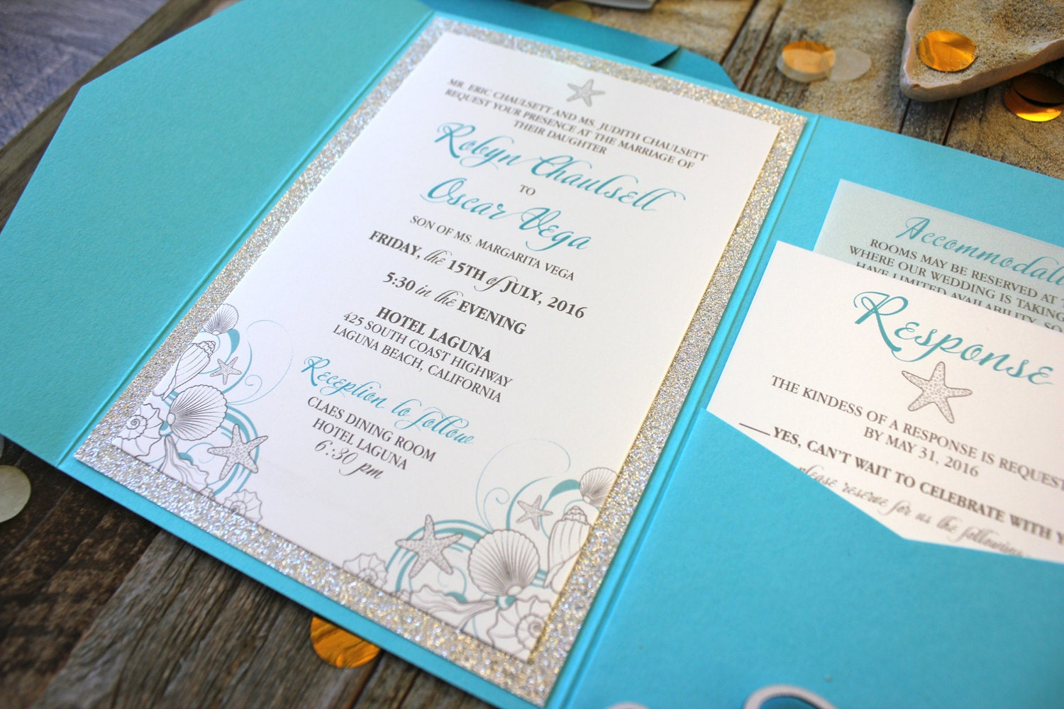 Wedding Invitations Turquoise: Beach Wedding Invitation Package Turquoise & Silver