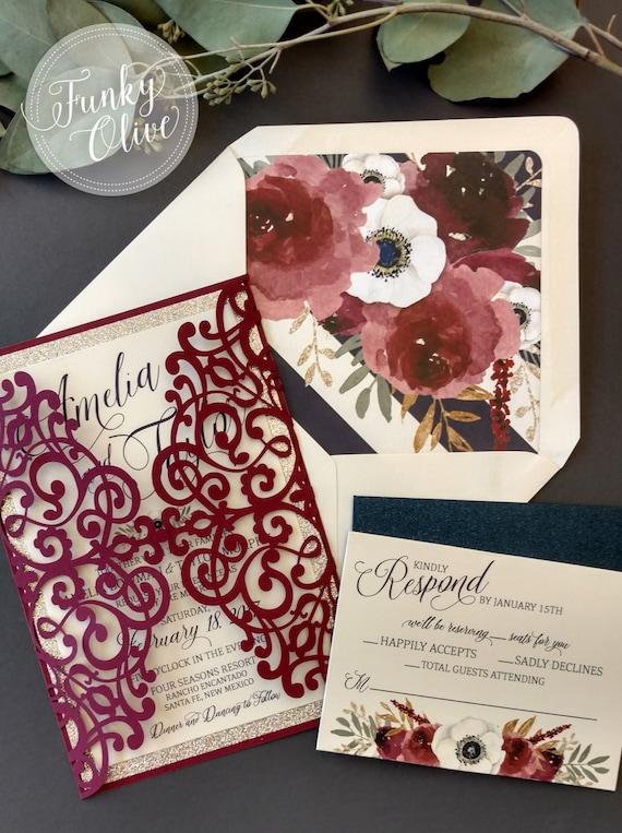 Laser Cut Wedding Invitation Package Burgundy Navy Gold Etsy