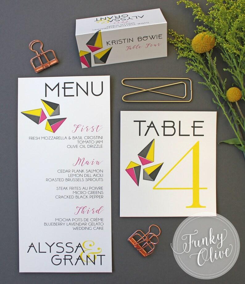 Modern Geometric Wedding Menu - Oversized Bold Typography Calligraphy Hot  Pink Yellow Grey Reception Menu Bridal Shower or Rehearsal Dinner