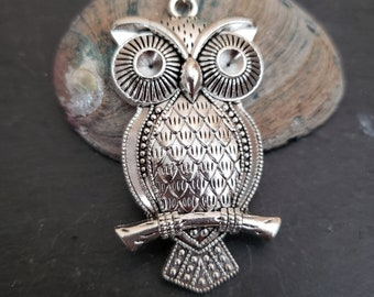 Metal Antique Silver Rhinestone Swinging Owl Pendant 68mm Jewellery Making Craft