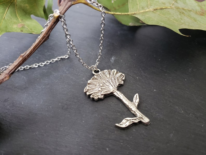 Rustic Antique Silver Nature Inspired Silver Flower Necklace Unique Gift Idea For Her Highlydetailed Dandelion Necklace Flower Jewelry